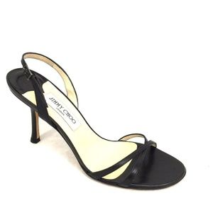 Jimmy Choo India Sandal Black Kid Leather 40.5 10